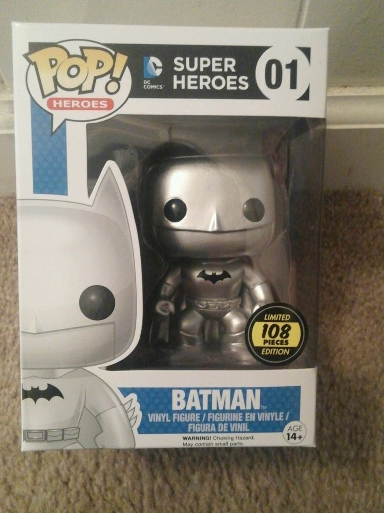 Limited Edition Silver Batman Pop Figure Extremely Rare Only 108 Existing In Collectibles Pinbacks Bob Funko Pop Batman Funko Pop Dolls Batman Pop Vinyl