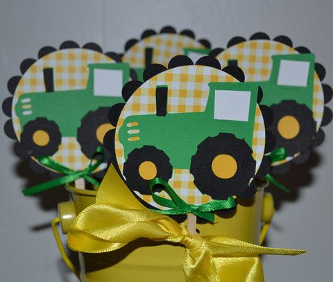John Deere Green Tractor Farm Themed CupCake Toppers (Set of 12)