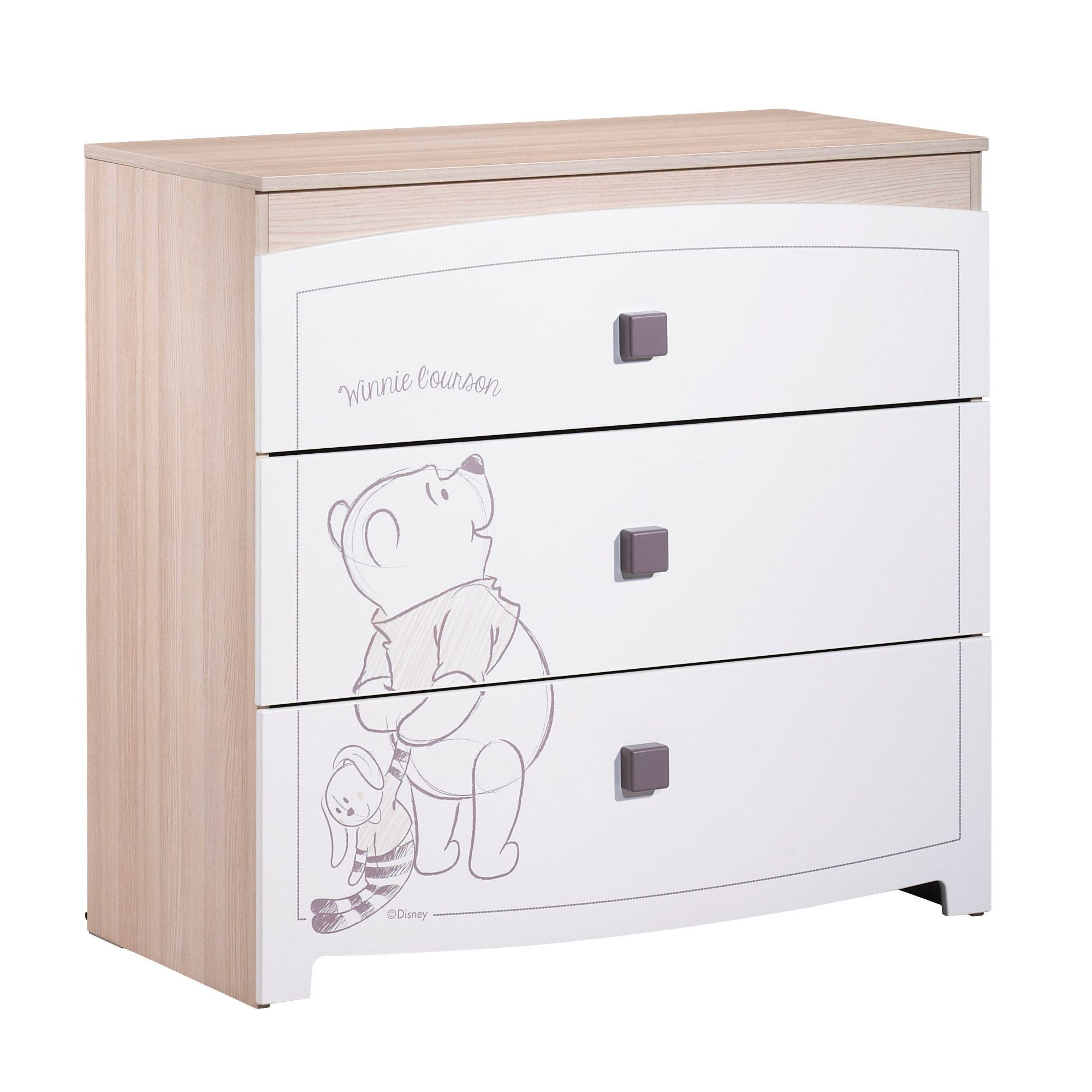 Winnie new commode 3 tiroirs blanc de sauthon s lection for Armoire tiroir chambre