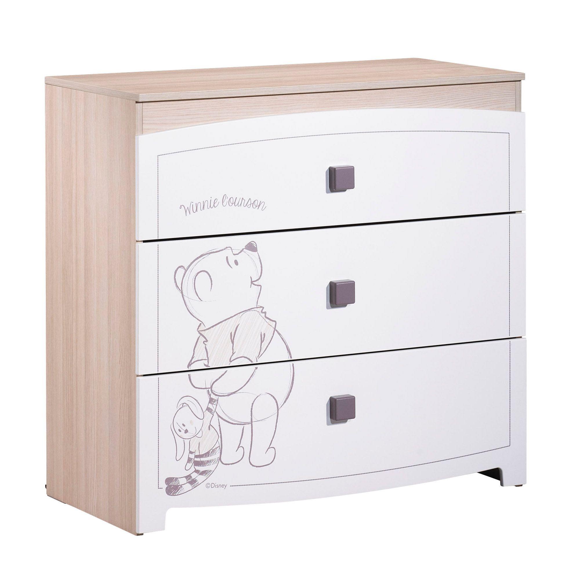 Winnie new commode 3 tiroirs blanc de sauthon s lection commodes aubert chambre joachim - Chambre winnie l ourson aubert ...