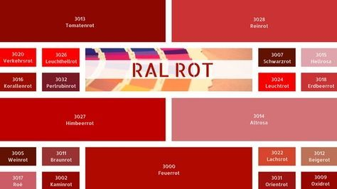 Ral Rot Ral Rottone Ral Farbtabelle Farbe Rot Rot Farbpalette Farben