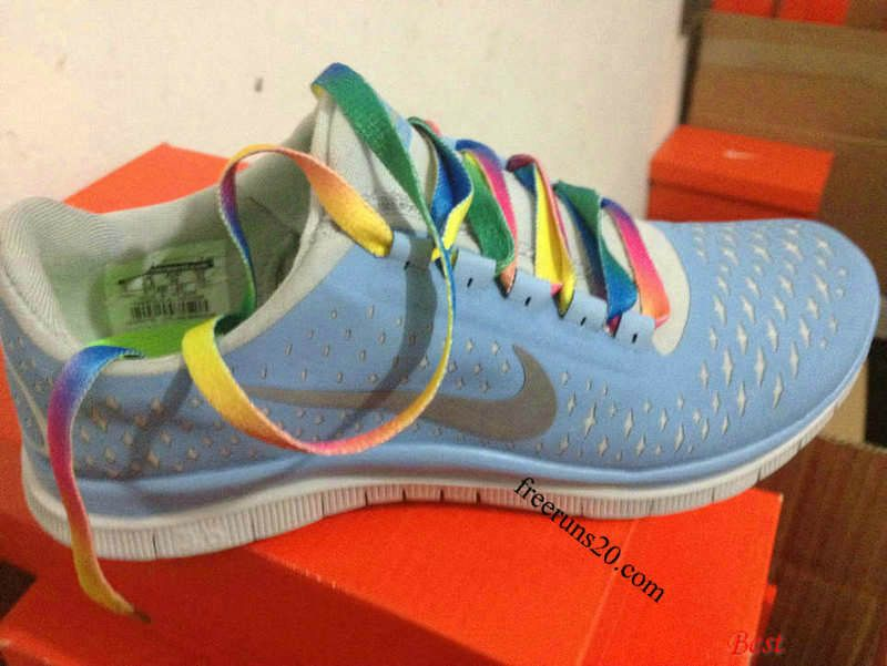 check out 02c00 e9334 Womens Nike Free 3.0 V4 Prism Blue Reflective Silver Sail Rainbow Lace Shoes