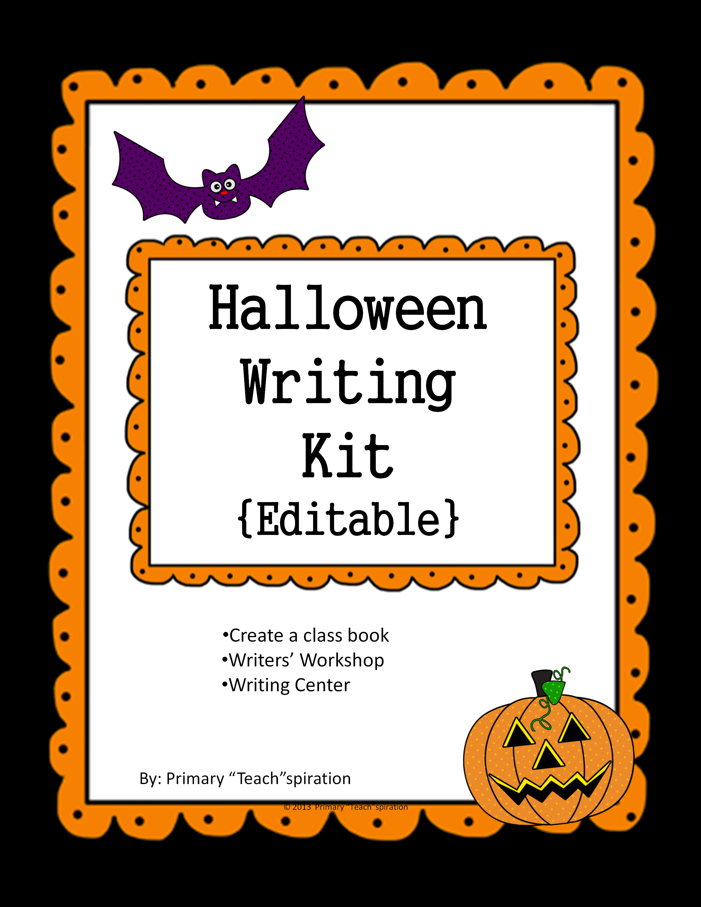 Your students will absolutely love this editable writing kit as they use it during the Halloween season!  Use it to create a class or individual books, use it as part of your Writers' Workshop in the writing process or in your Writing Center with various prompts.  Because it's editable, it can be used over & over again as you change the writing prompts & story titles.