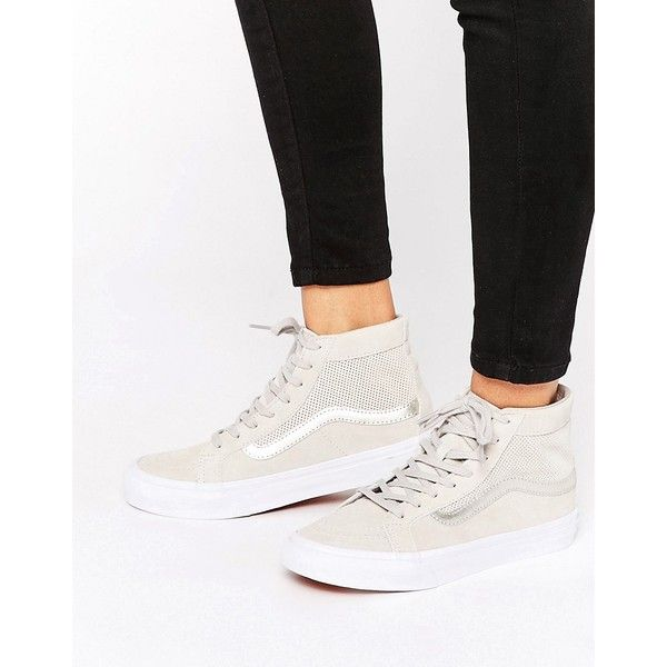 b165d060df Vans Sk8-Hi Slim Nude Perforated Suede Sneakers (705 DKK) ❤ liked on  Polyvore featuring shoes