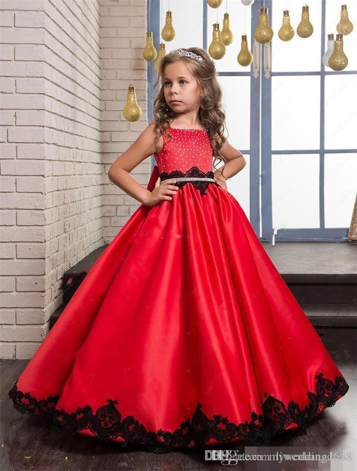 17f59d6089fc1 Robes de fille de fleur de dentelle rouge et noire pour les filles Perles  de cristal 2018 Première robe de communion longue formelle Petites robes de  fête ...