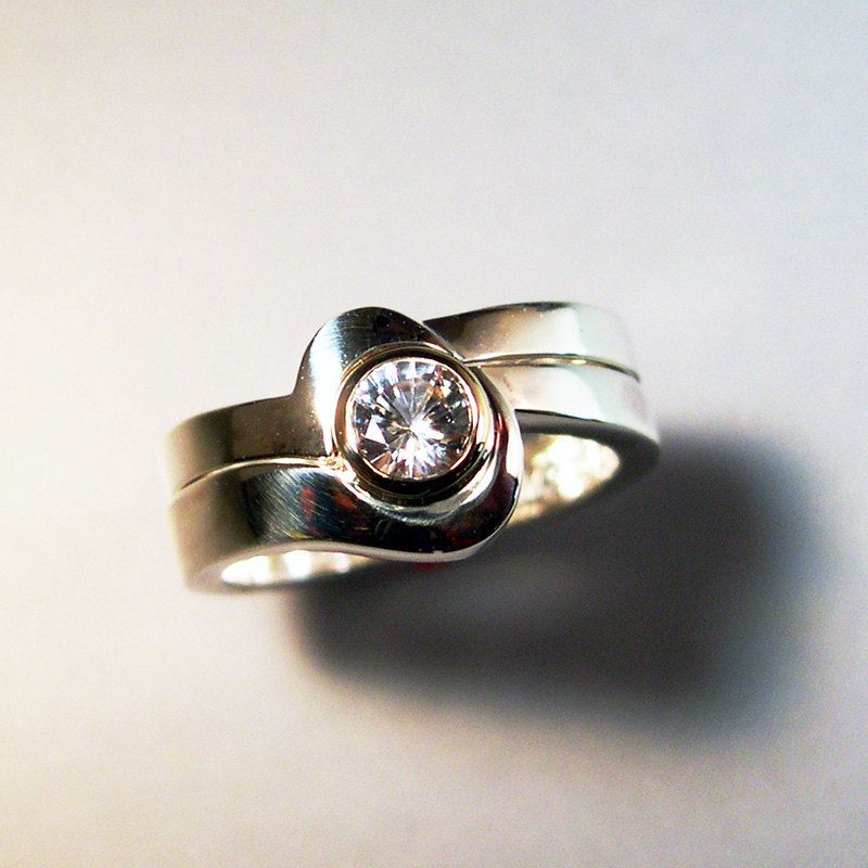 White Sapphire Wedding ring, Engagement Ring, Sterling Silver, 14k Gold. $320.00, via Etsy.