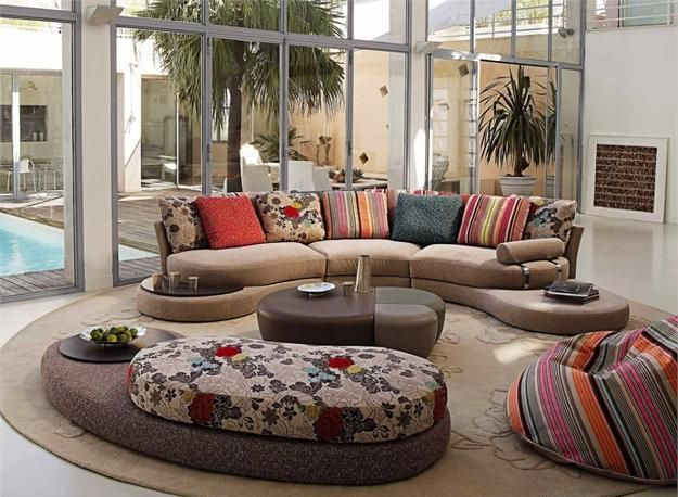 Modern Living Room Designs With Curved Sofa