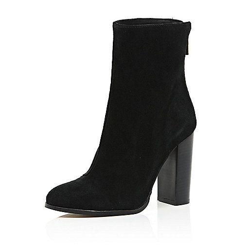 Black Suede Heeled Ankle Boots Wildleder Stiefeletten Stiefeletten Stiefel Damen