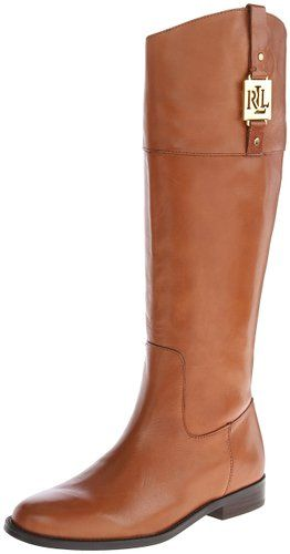 Lauren Ralph Lauren Women's Jaden Riding Boot, Polo Tan Burnished Leather, 8.5 B US