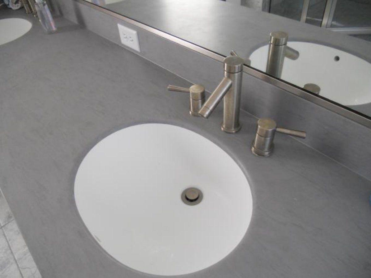 Corian Bathroom Sink Bath Silverthorne Homebuilders Gray Vanity Top With Integrated Bowl Seamless