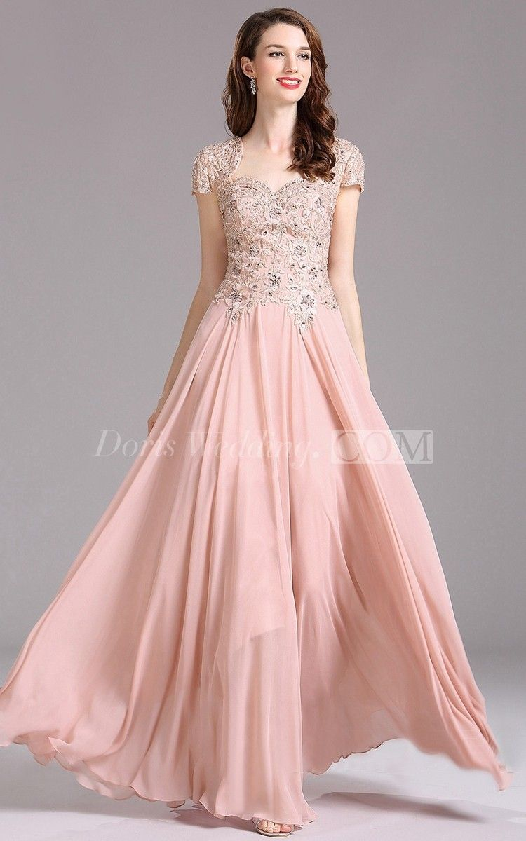 ad43254c1a A-Line Queen Anne Short Sleeve Chiffon Appliques Keyhole Dress ...