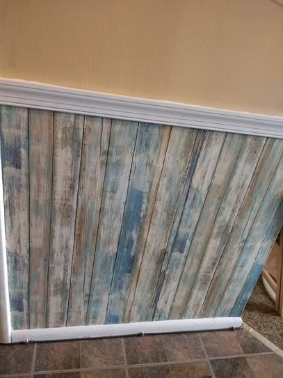 Roommates 28 18 Sq Ft Blue Distressed Wood Peel And Stick Wallpaper Rmk9052wp At The Home How To Distress Wood Distressed Wood Wallpaper Brick Exterior House