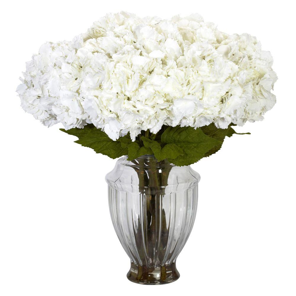Nearly Natural 23 In H White Large Hydrangea With European Vase Silk Flower Arrangement 1255 The Home Depot Hydrangea Arrangements Silk Hydrangeas Arrangements Silk Flower Arrangements