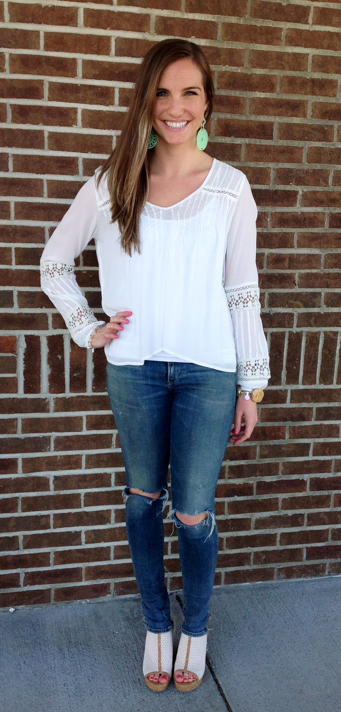 Chloe Oliver top, Citizens of Humanity jeans, Dolce Vita wedges, Moon and Lola earrings