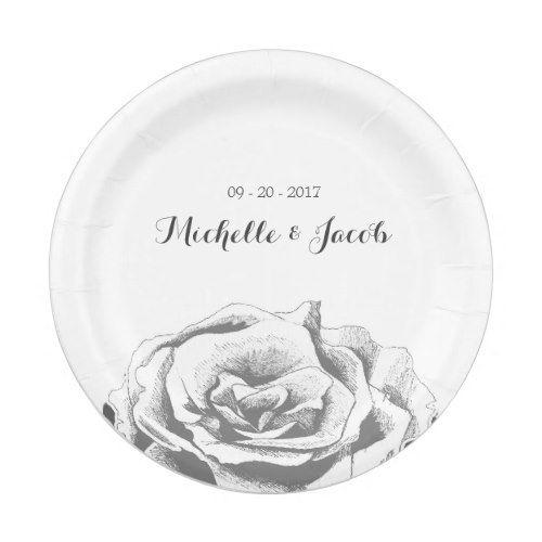 Minimalist Vintage Rose Wedding Paper Plate | Wedding and Weddings