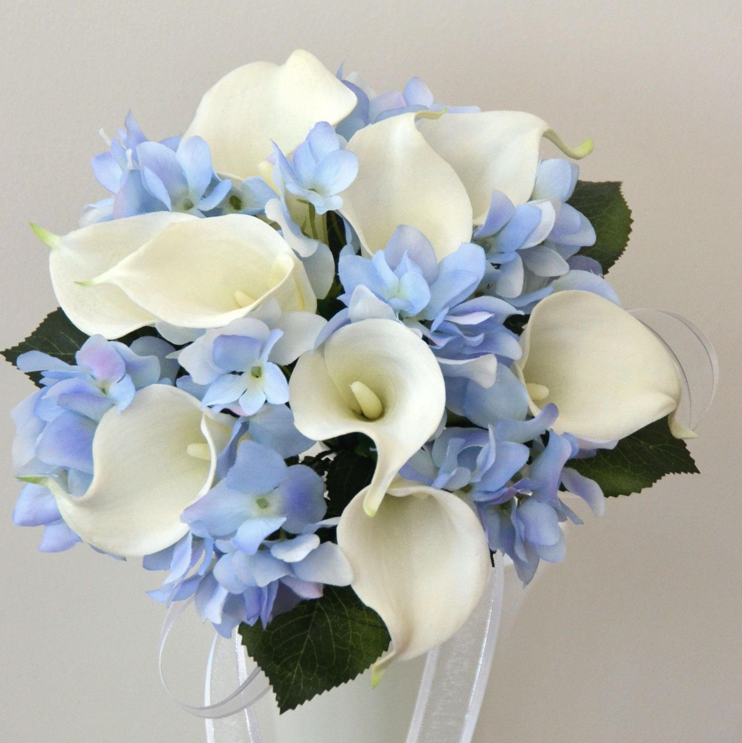 latex white calla lily blue hydrangea wedding bouquet posy