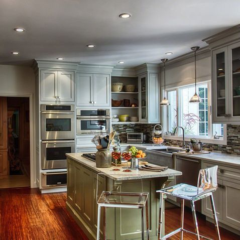 double fridge kitchen pictures | Double Ovens Refrigerator Wall ...