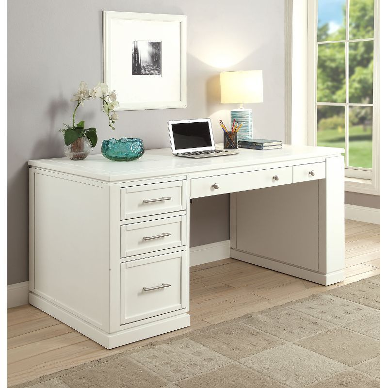 White Modern Office Desk Catalina In 2020 White Desk Office