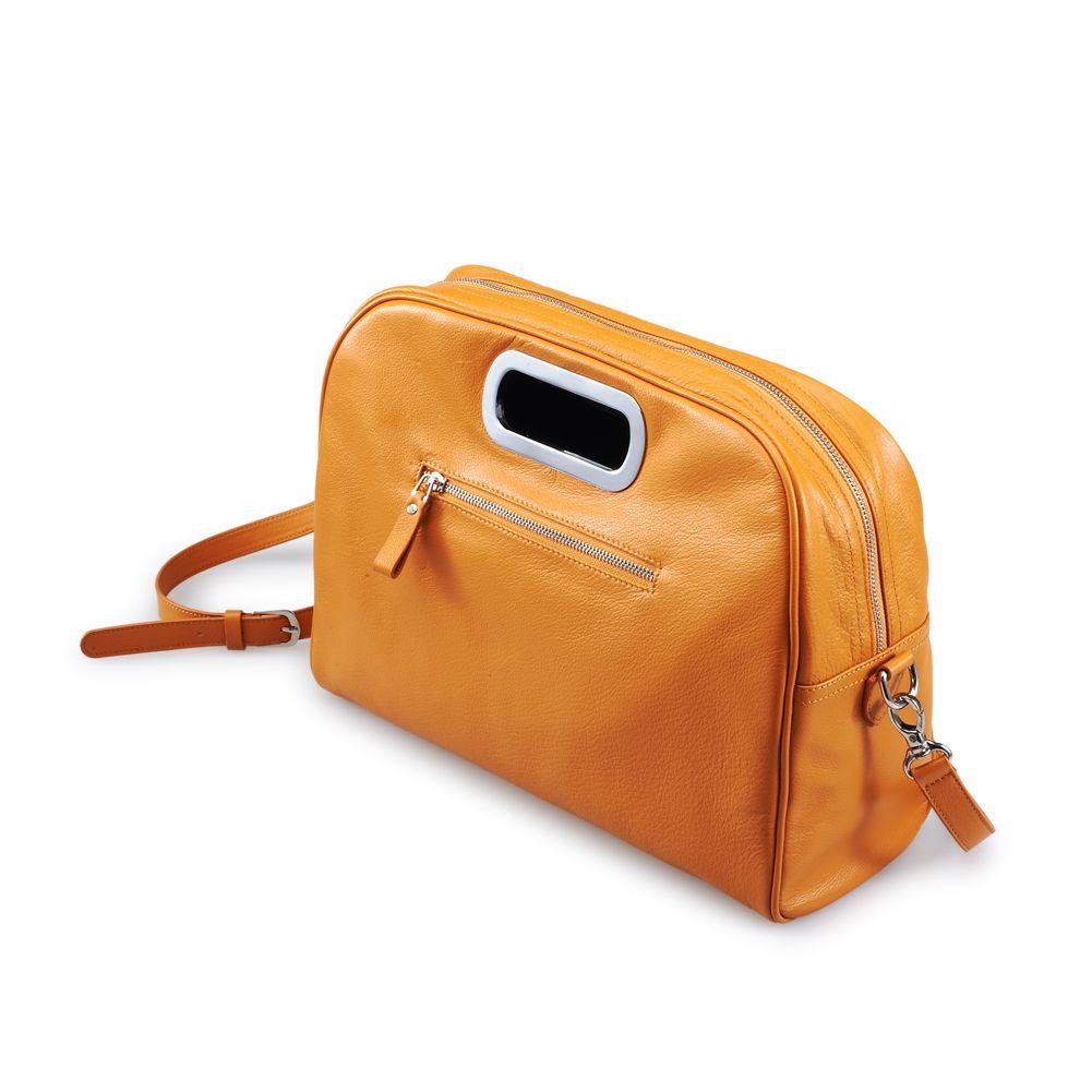 Mod Style Orange Calfskin Leather Messenger Bag With Shoulder Strap | iCarryalls Leather Fashion
