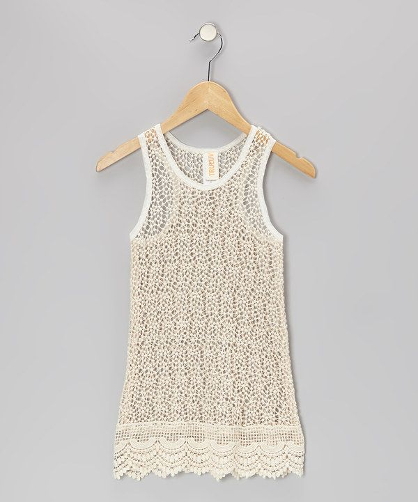 This Ivory Lace Margarita Top - Girls by Tru Luv is perfect! #zulilyfinds