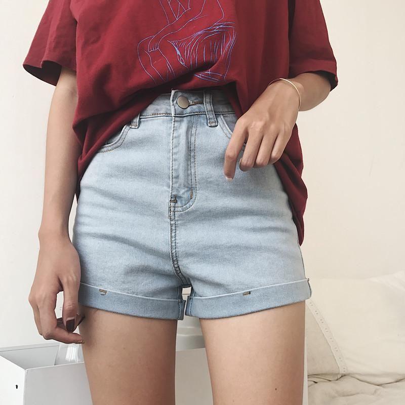 High Waist Classic Denim Blue Jean Shorts S Retro Light Blue Korean Fashion Trends Korean Fashion Korean Street Fashion