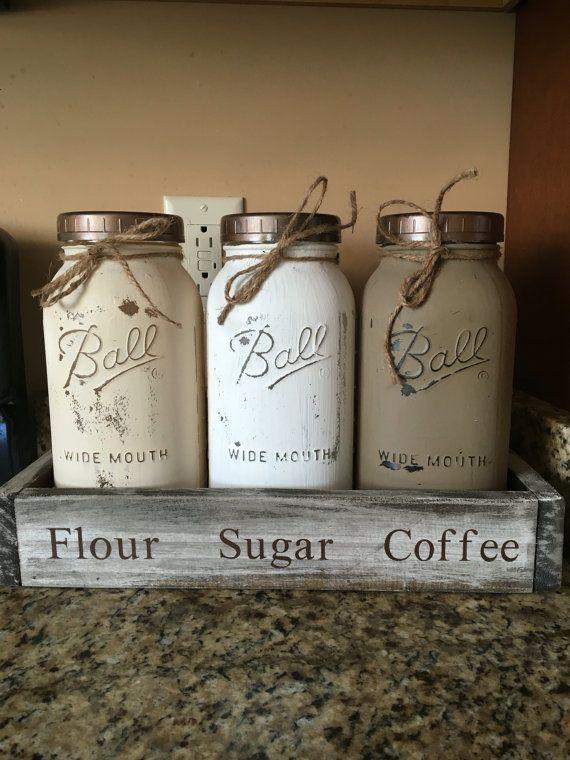 Mason Jar Kitchen Canisters Half Gallon Jars By Dandecustom Crafts Diy
