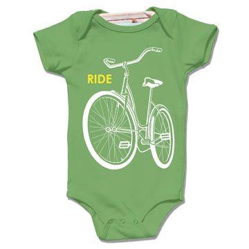 organic grass green ride a bike onesie bodysuit by Little Lark