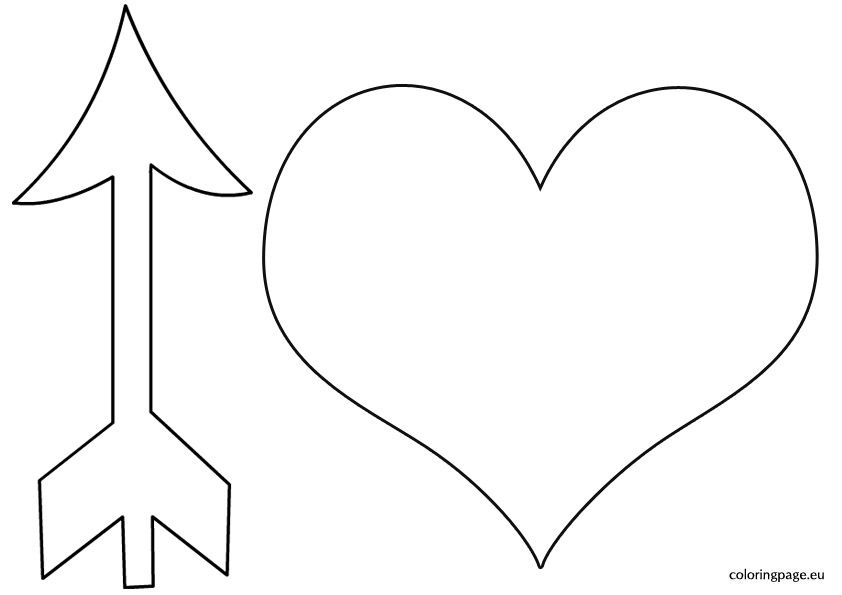 Heart With Arrow Template Coloring Page Heart With Arrow
