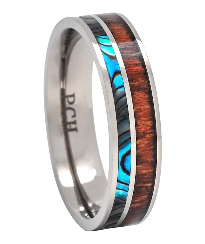 PCH Jewelers Titanium Hawaiian Koa Wood and Abalone Ring
