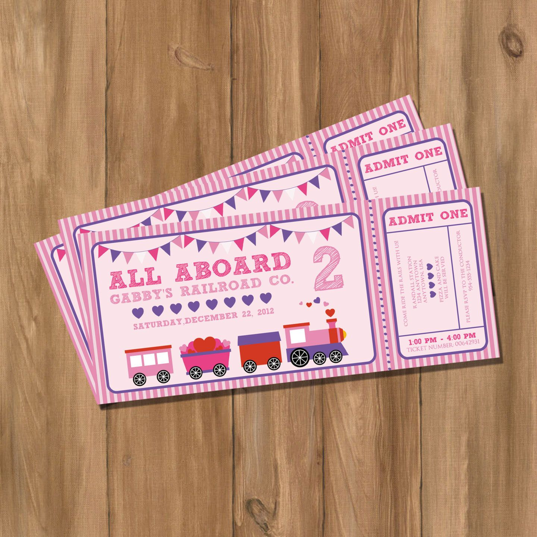 Choo Train Ticket Birthday Party Invitation