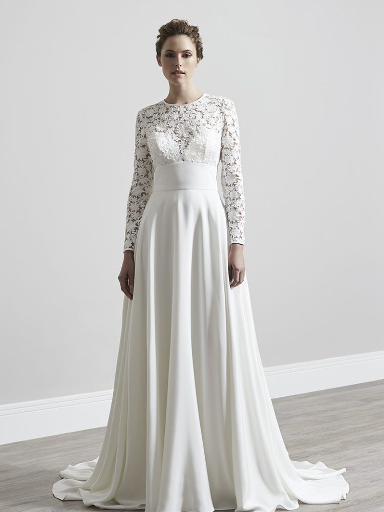 7f99f2d323c89 Designer wedding dress, Bridal couture. 3D laser cut lace, full skirt, high  neck, long sleeves, keyhole back