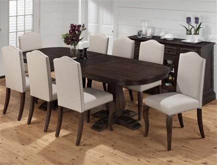 Genial Grand Transitional Terrace Ivory Wood Fabric 9pc Dining Room Set