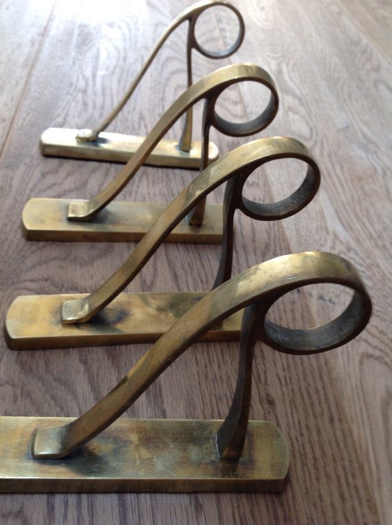 4 Antique Solid Brass Art Nouveau Curtain Rod By Artoflinen Art