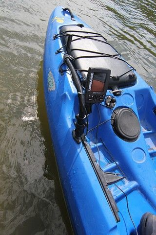 Lowrance elite 4 dsi fishfinder gps unit mounted on a for Fish finder on kayak