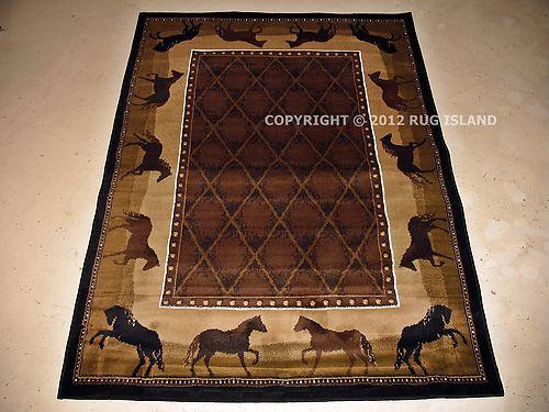 Cowboy Horses Rug Rugs Black Decor Cowboy Rugs