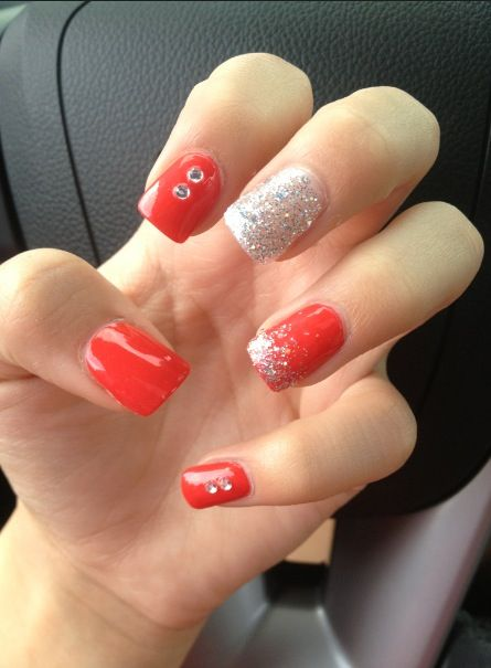 prom nails silver amp red hair amp beauty pinterest