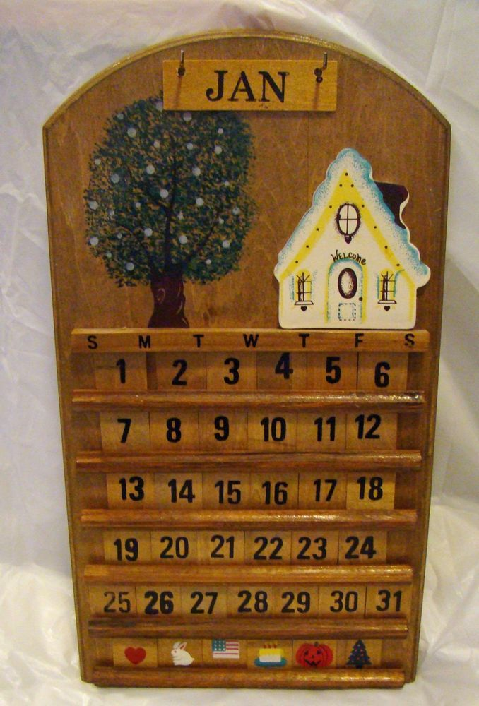 Vintage Wooden Perpetual Wall Calendar House Tree Welcome