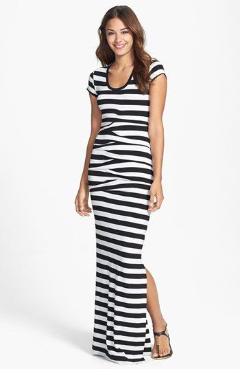 3d4d8e1e3b Nicole Miller  Vanessa  Stripe Tidal Pleat Jersey Maxi Dress available at   Nordstrom