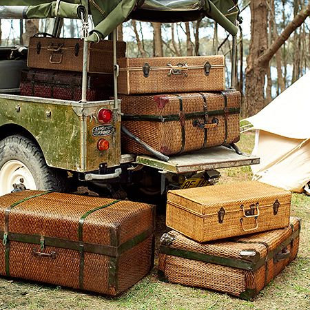 Extend glamping to your suitcases with these great vintage finds.