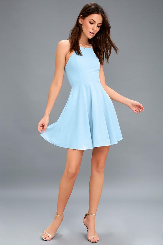 3cc20b6b1930a Call to Charms Light Blue Skater Dress | Clothes | Light blue skater ...