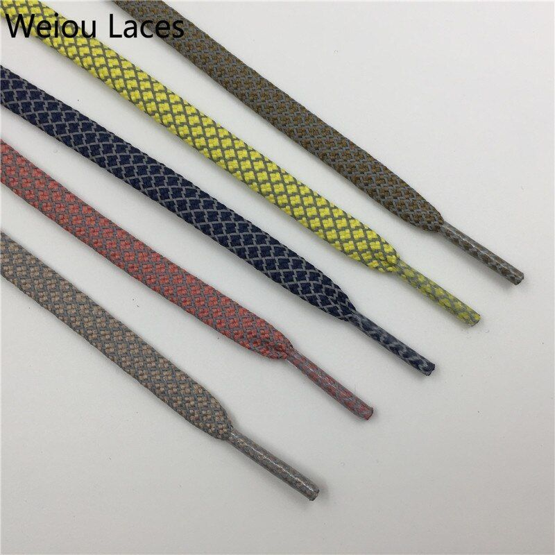 Flat Reflective Shoelaces Runner Weave Tape Safety Shoe Laces Bootlaces Running