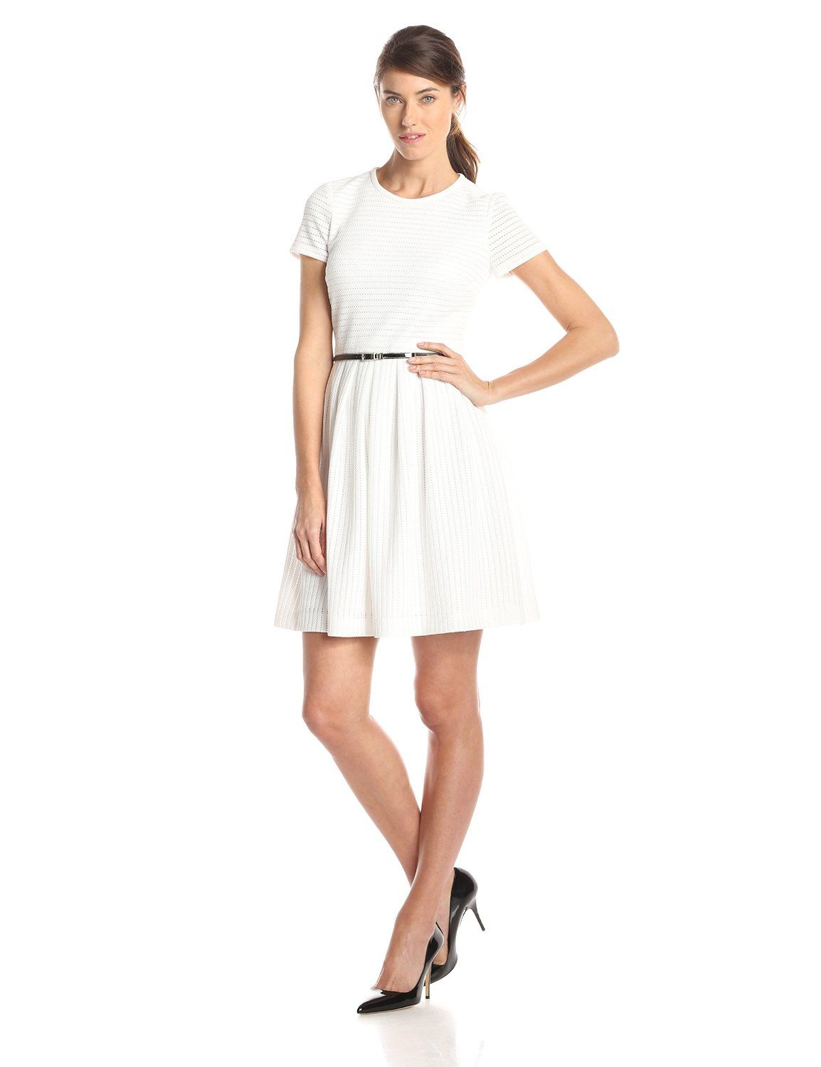 9401b1288d5 Short Sleeve Belted Fit and Flare Dress by Calvin Klein