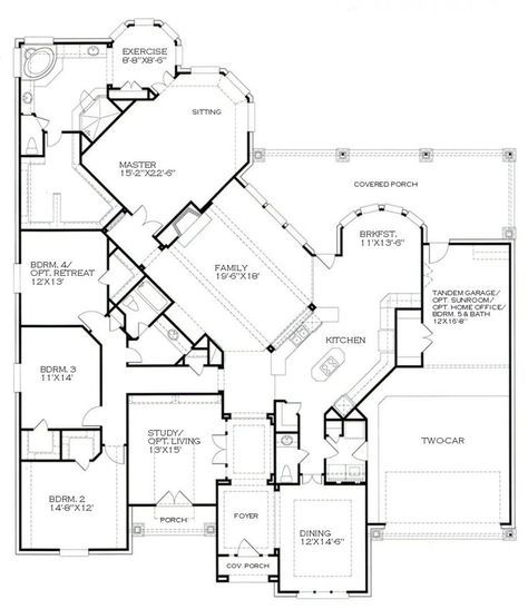 I Never Thought I Would Like A 1 Story Home But The More I Look At This Plan The More I Think It Works House Plans How To Plan Dream House Plans