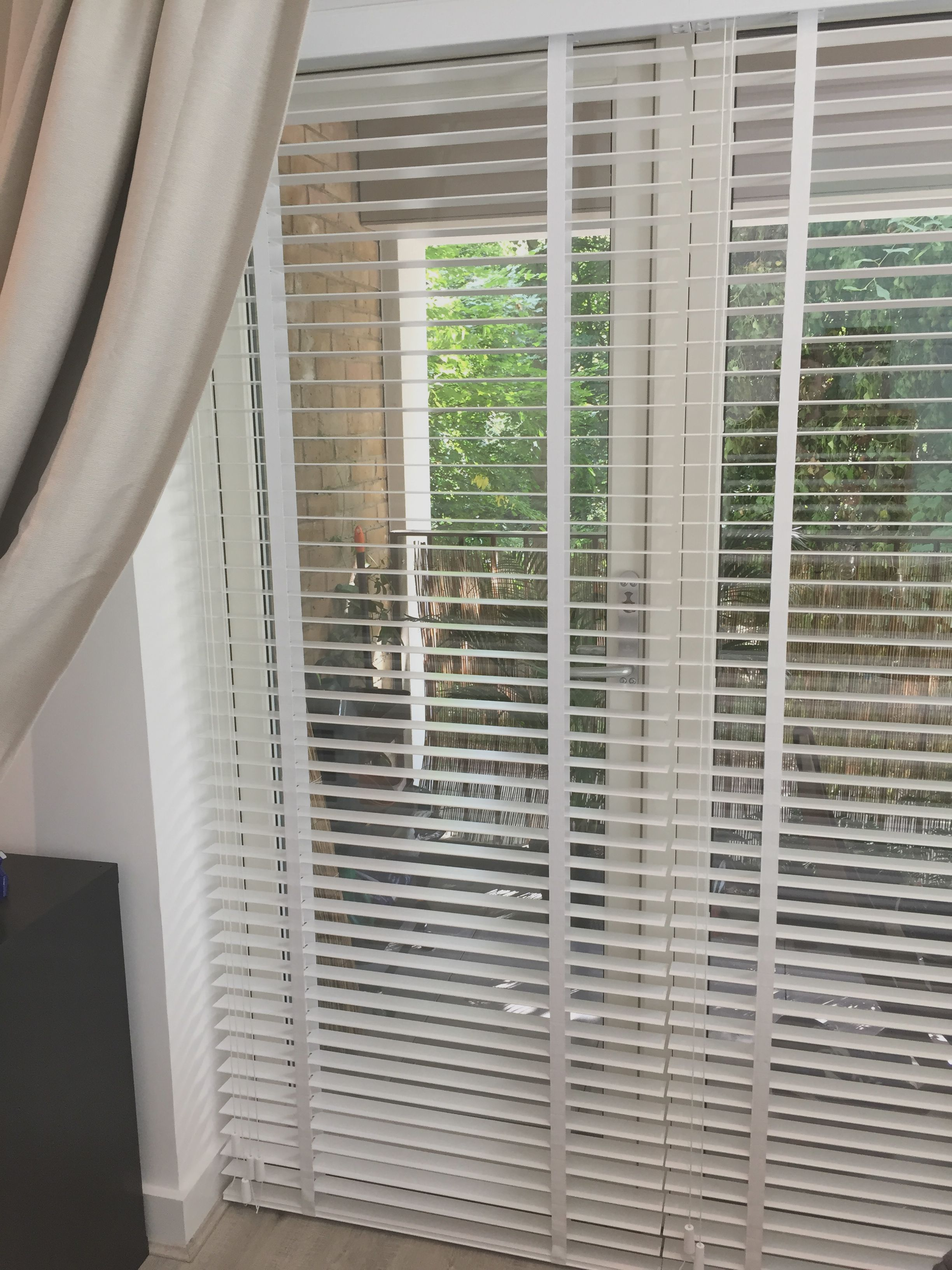 Wood venetian blinds with existing curtains pure white blinds for