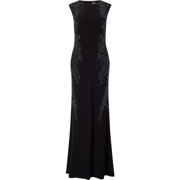 Adrianna Papell Cap Sleeve Jersey Beaded Gown, Black ($350) ❤ liked on Polyvore featuring dresses, gowns, cap sleeve evening gown, cap sleeve dress, adrianna papell evening dresses, adrianna papell gowns and floor length evening dresses