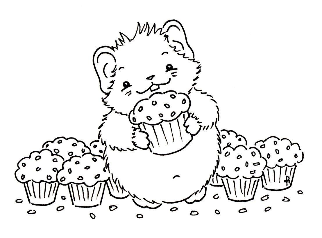 Sliekje Digi Stamps Cupcake Hamster Magnolia Stempels Digi Stempels Digitale Stempels