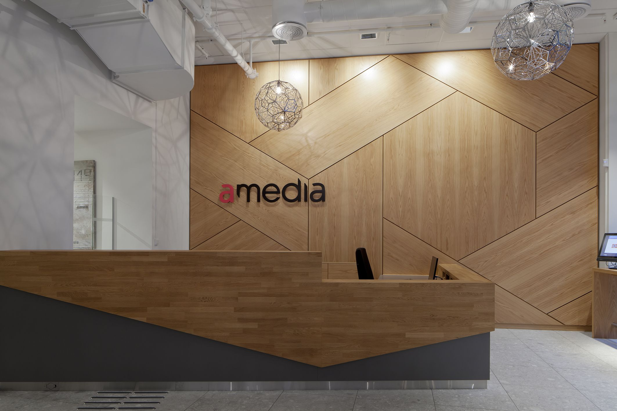 Amedia Interior Architecture Project By Iark Modern Reception Desk Design Reception Desk Design Modern Reception Desk