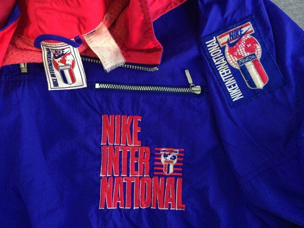 298426e1 Vintage 80's NIKE INTERNATIONAL Jacket RARE! Nylon Hooded Neon Windbreaker  EUC L