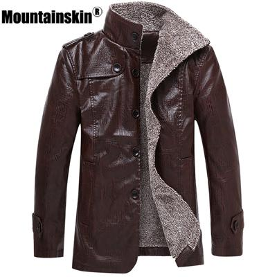 Mountainskin Mens Leather Jacket Stand Up Collar Long