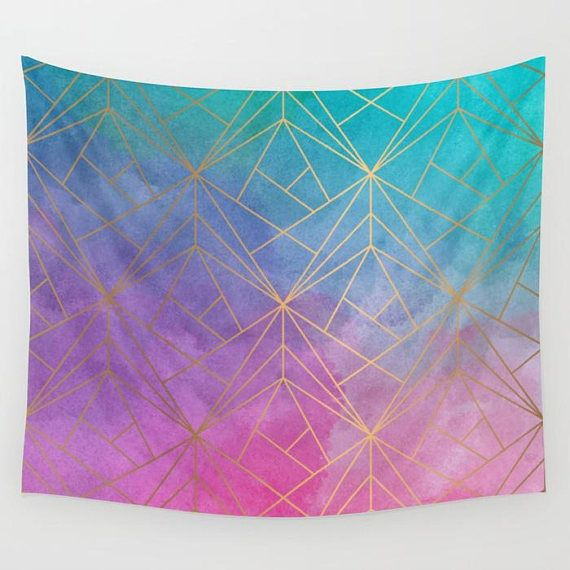 Watercolor Geometric Gold Pattern Wall Tapestry Gold Wall